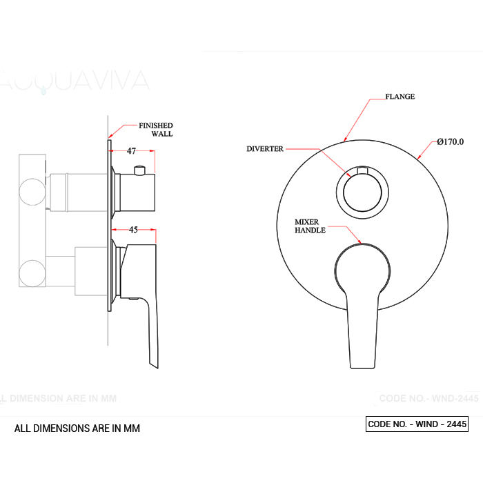 Three Way Outlet System Single Lever Diverter