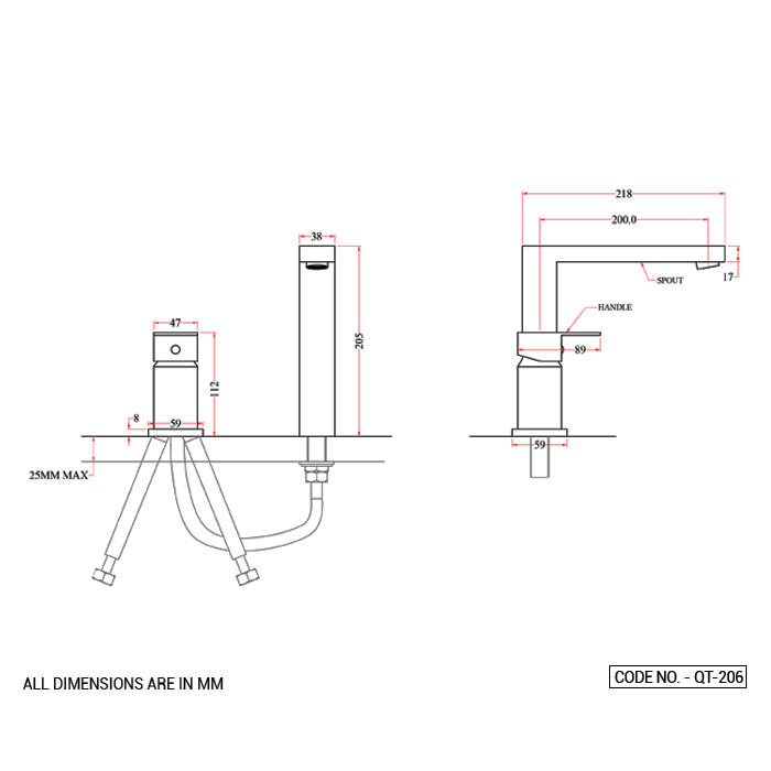 Single Lever Two Hole Basin Mixer Deck Mounted Long Body