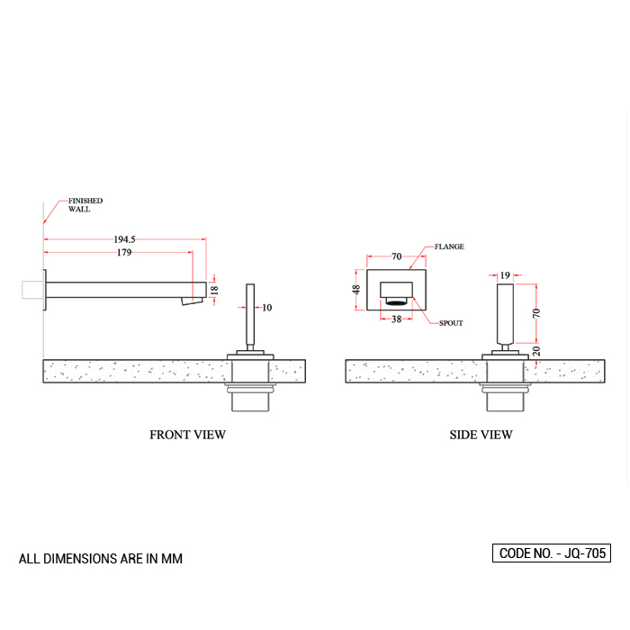 Basin Mixer Wall Mounted Spout and Deck Mounted Control Lever