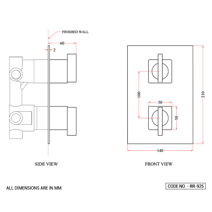 Three-Way Outlet System Thermostatic