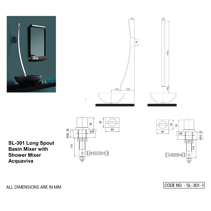 Long Spout Basin Mixer with Deck Mounted Control Lever