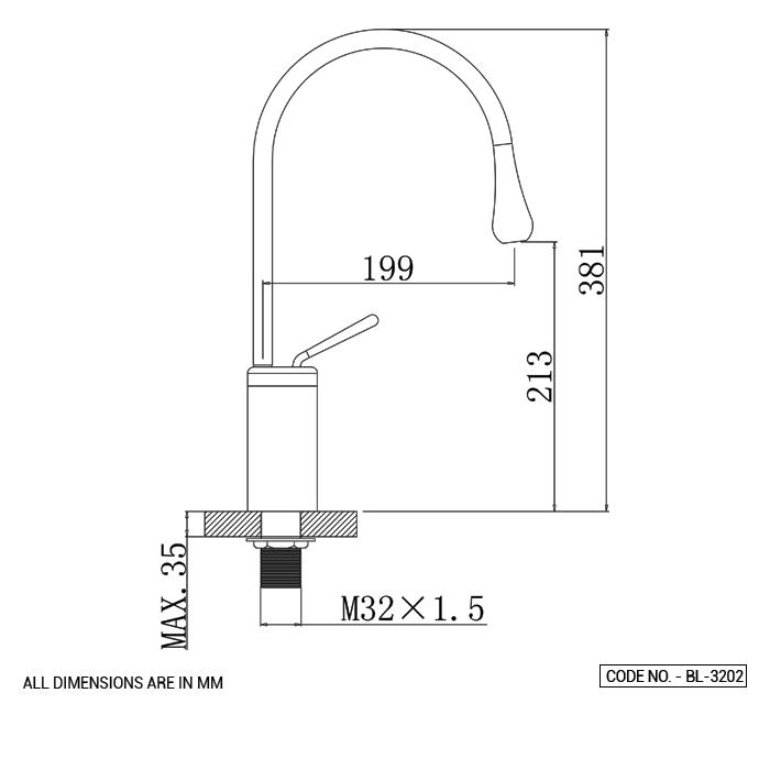 Single Lever Basin Mixer High Long Body Chrome Finish