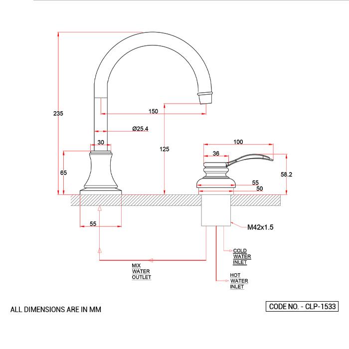 Two Hole Basin Mixer Short Body Gold PVD Finish