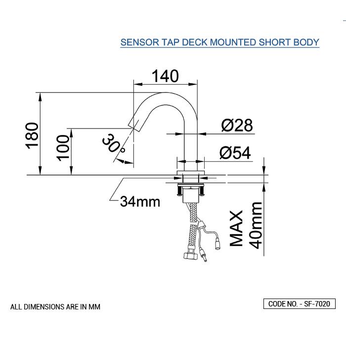 Sensor Tap Deck Mounted Short Body Aquadorn